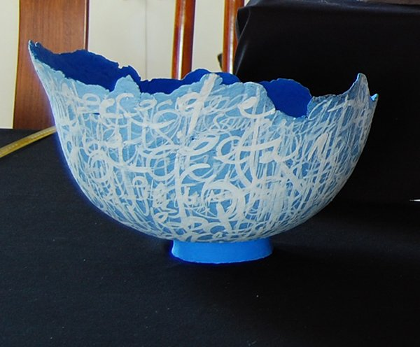 Blue bowl with galligraphy