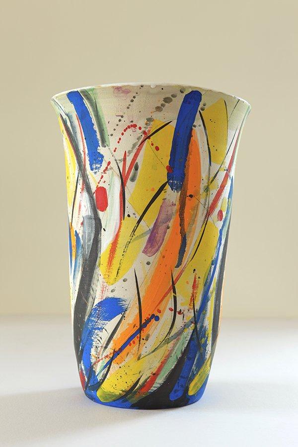 Kandinsky vase | Stoneware, stains, white glaze