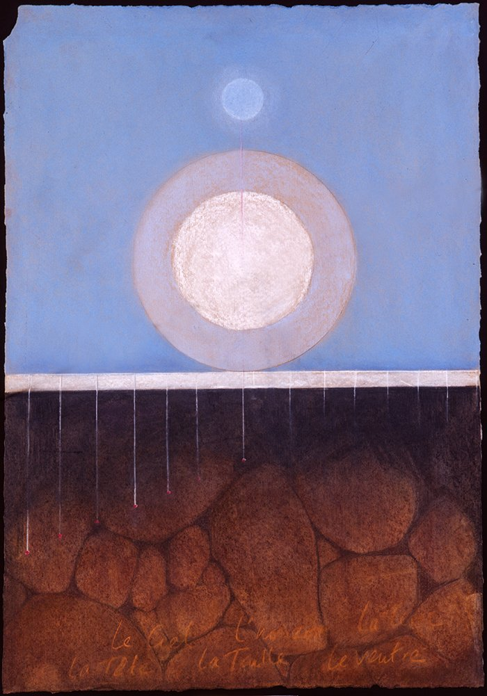 Landscape with moons | Pastels on paper