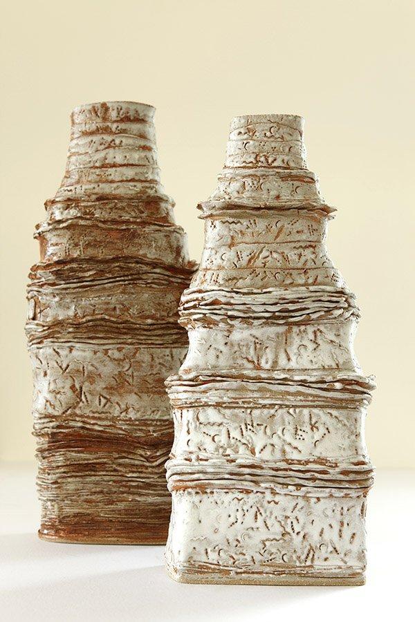 Queen & king of Mesopotamia_  stoneware, porcelain slip, white glaze, oxides