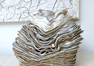 Sea Vessel | Stoneware, porcelain oxides, white glaze