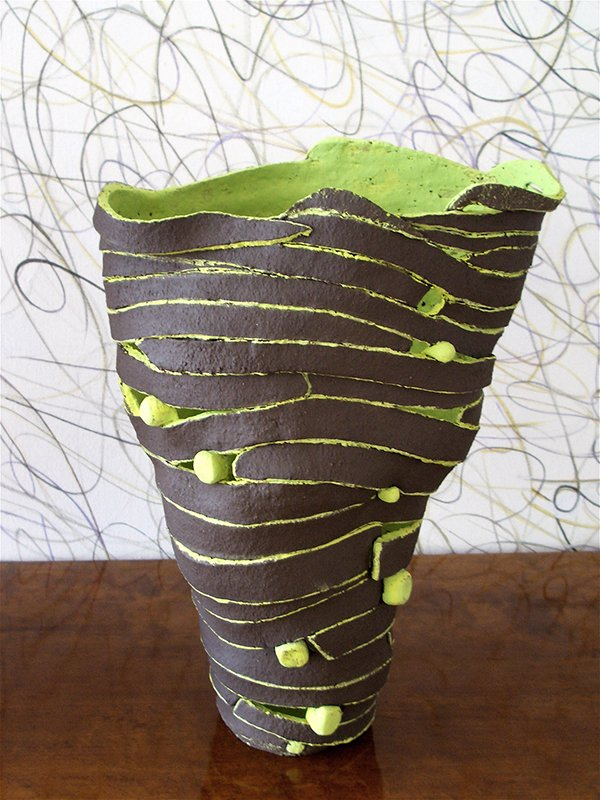 Vase | Earthenware, stains, underglazes