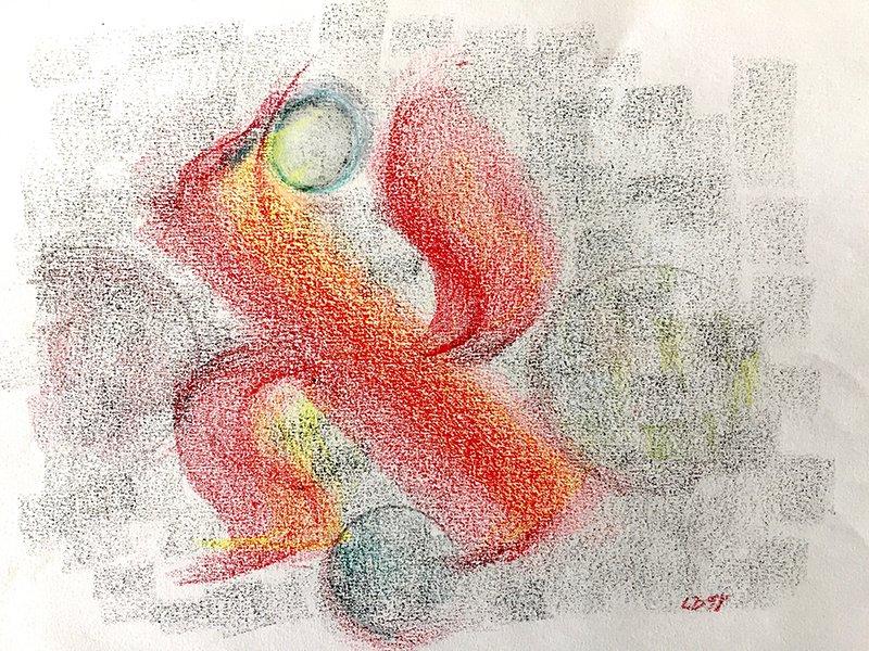 Dancing|Pastel on paper
